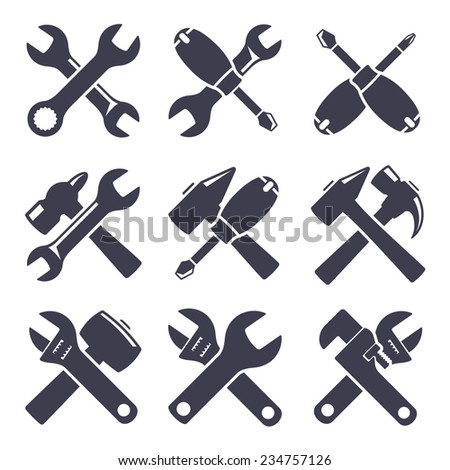 Set of icons of tools on white background - stock vector