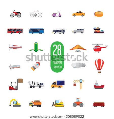 Set of icons of transport equipment. It consists of twenty-eight different objects. air, space, road, rail and marine modes of transportation. Also there is construction equipment. Background white. - stock vector