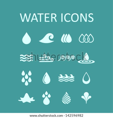 Set of icons of water for design. A vector illustration - stock vector