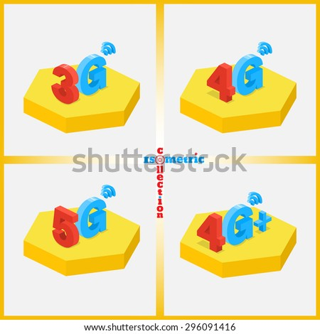Set of icons of wireless mobile communications. Mobile networks. Isometric collection. Vector element of graphic design - stock vector