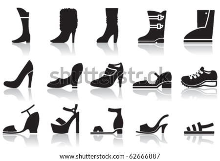 Set of icons of women's shoes - stock vector