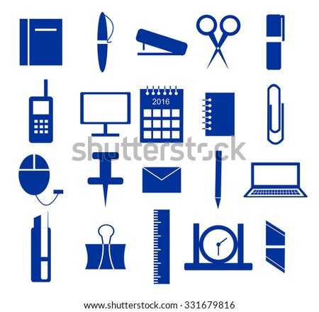 Set of icons, office supplies in blue over white background
