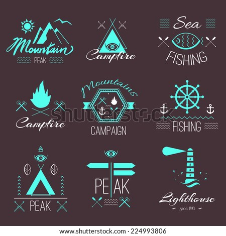 Set of icons on a hike in the mystical retro style design for t-shirt prints bright colors on a dark background  - stock vector