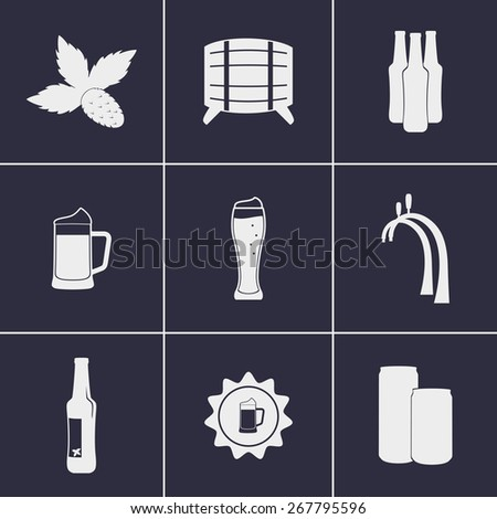 Set of icons on a theme beer - stock vector
