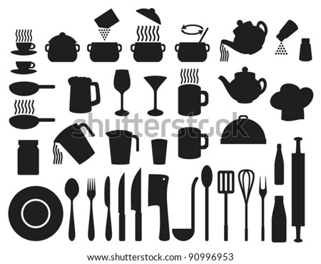 set of icons on a theme kitchen - stock vector