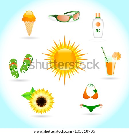 Set of icons on a theme Sun Summer and Beach - stock vector