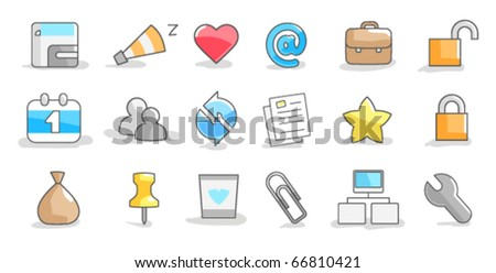 Set of icons on a white background