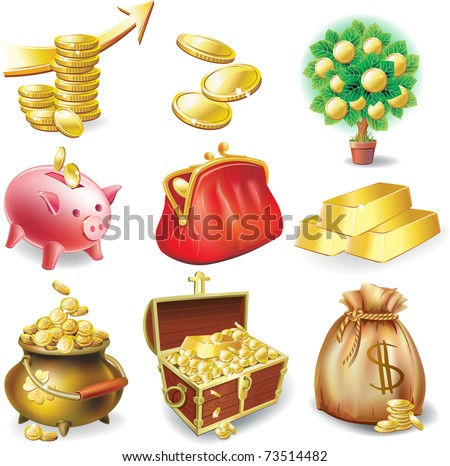 Set of icons on the financial theme - stock vector