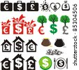 Set of icons on the financial theme isolated on White background. Vector illustration - stock