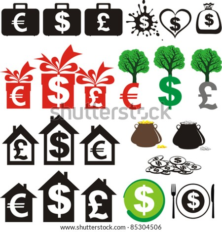 Set of icons on the financial theme isolated on White background. Vector illustration - stock vector