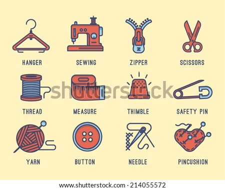 Set of icons on the sewing theme.Sewing machine, needle, safety pin, scissors, zipper, yarn, hanger and the spool of thread. - stock vector