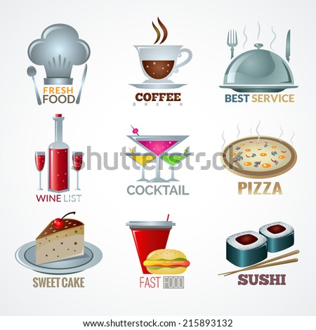 Set of icons on the theme of food and drink. - stock vector