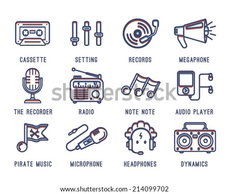 Set of icons on the theme of music. Radio, tape recorder, cassette, sound, bass,audio player,records, microphone. - stock vector