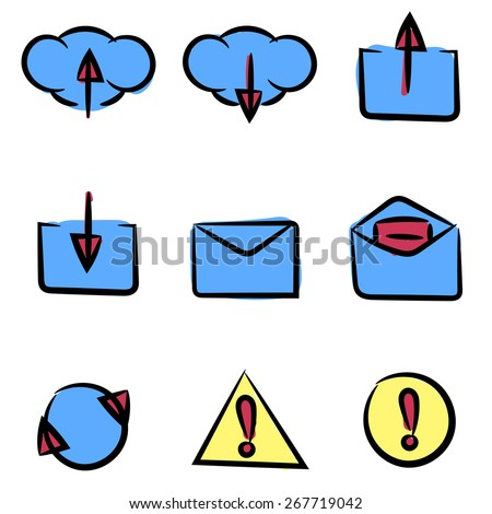 Set of icons painted by hand. Can be used in web or mobile software. Clean and simple. - stock vector