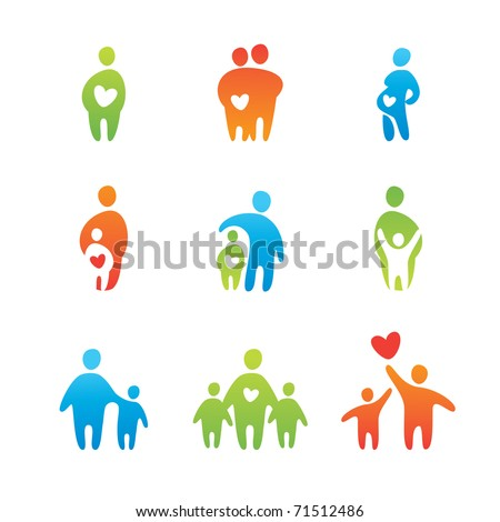 set of icons - parental love - stock vector
