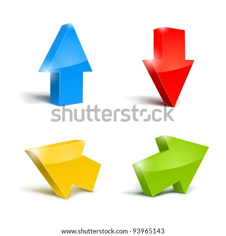 set of icons pointer arrows 3d vector illustration isolated on white background