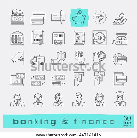 Set of icons related to finance and banking. Collection of premium quality line icons. Vector illustration.