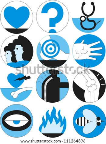 Set of icons related to health care and medicine - stock vector