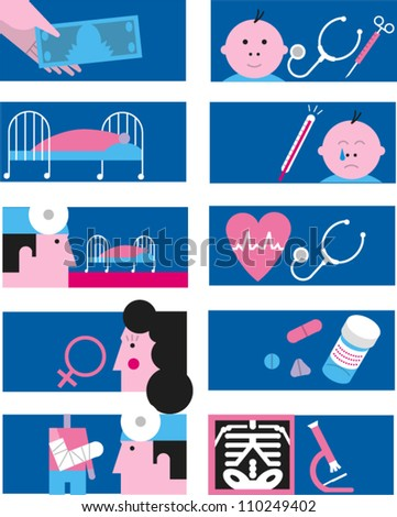 Set of icons related to medicine and health care - stock vector