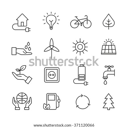 Set of icons representing ecology, environment, renewable energies, nature conservation. Infographic modern thin lines vector design. - stock vector