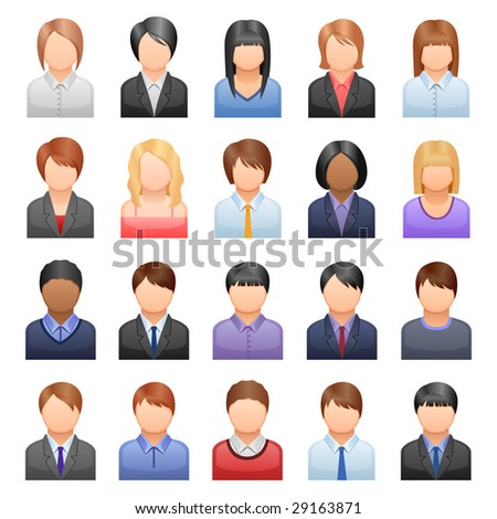 set of icons representing people - stock vector