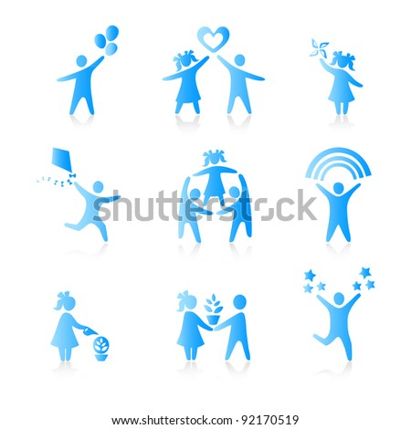 Set of Icons - Silhouette family. woman, man, kid, child, boy, girl, father, mother, parents symbol. People vector.