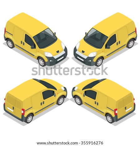 Set of icons small truck for transportation cargo. Van for the carriage of cargo. Delivery car. Vector isometric illustration. - stock vector