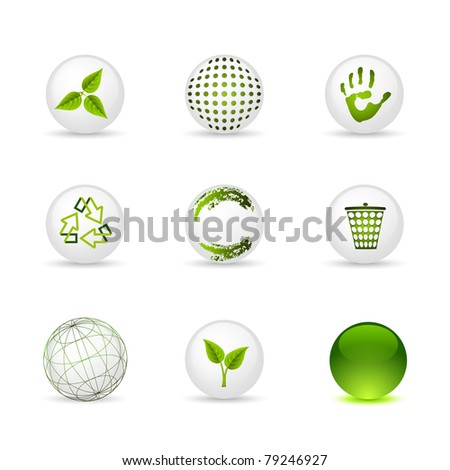 Set of icons - spheres: ecology and green - stock vector