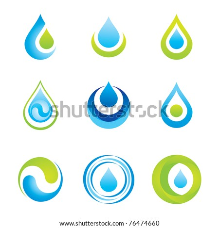Set of icons/symbols - water and ecology - stock vector
