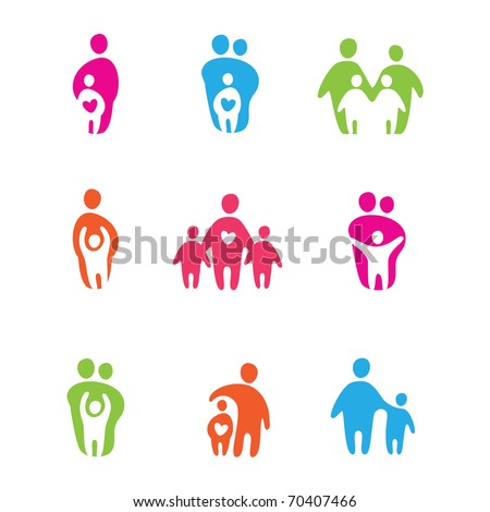 set of icons - the parents and children - stock vector