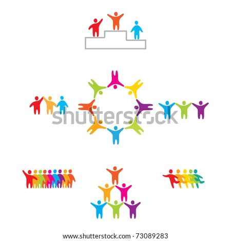 set of icons - the winner - stock vector