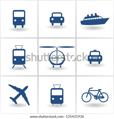 set of icons transport. vector eps10 - stock vector