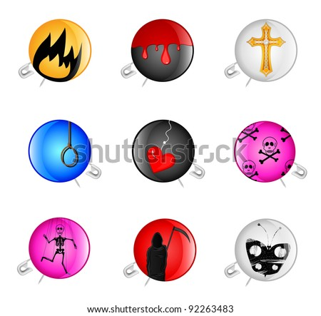 Set of icons with a pin and a sad drawing - stock vector