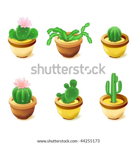 Set of icons with cactuses - stock vector