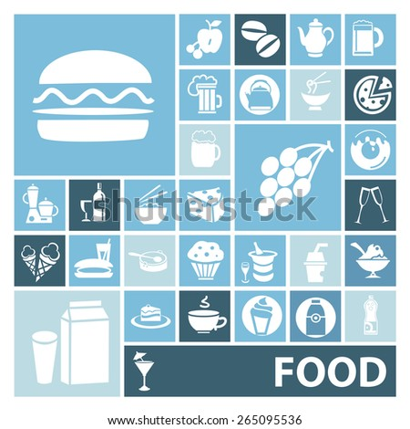 Set of icons with different food and drinks, vector illustrtation - stock vector