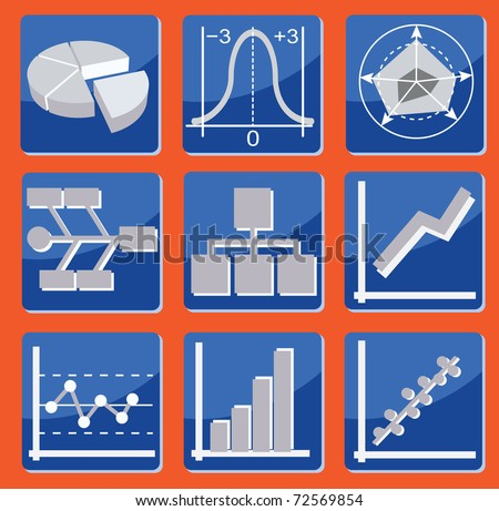 set of icons with different types of charts and graphs - stock vector