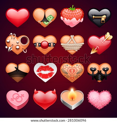 Set of Icons with Erotic Hearts for Your Hot Project - stock vector