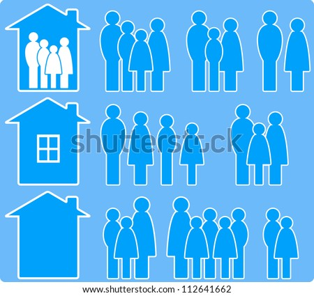 set of icons with people images and house silhouette - stock vector