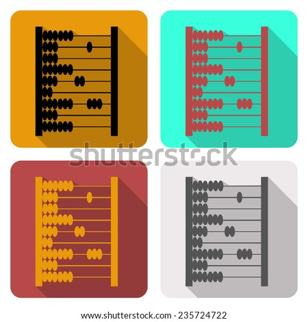 Set of icons with the image of wooden abacus, flat icons four images on different backgrounds  - stock vector