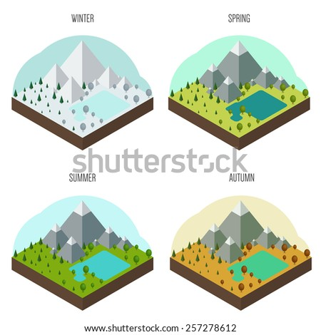 Set of icons with the natural landscape in different seasons - stock vector