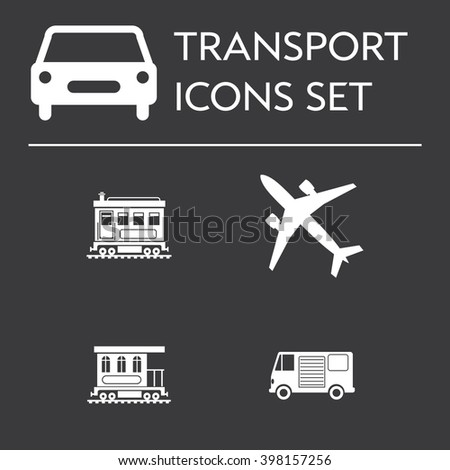 Set of icons with transportation and vehicles: planes, delivery truck, trains and wagons. Editable vector illustration silhouettes isolated on black background.