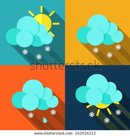 Set of icons with weather style flat with long shadows. Vector. - stock vector