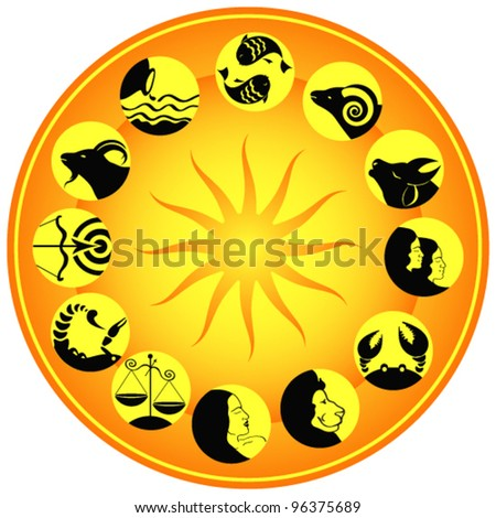 Set of icons with zodiac signs
