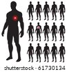 Set of illness people with pain dots. Vector illustration. - stock photo