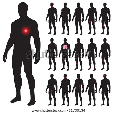 Set of illness people with pain dots. Vector illustration. - stock vector