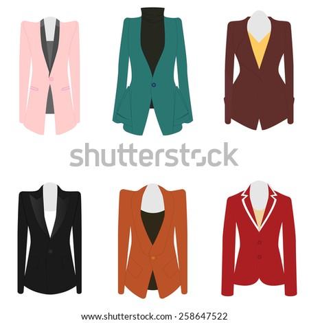 Set of 6 illustration business women suit  - stock vector