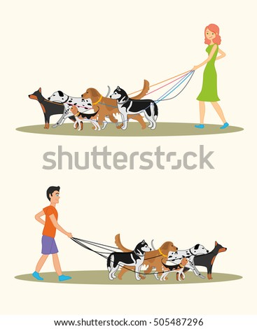 Set of illustration with a man and a woman walking many dogs