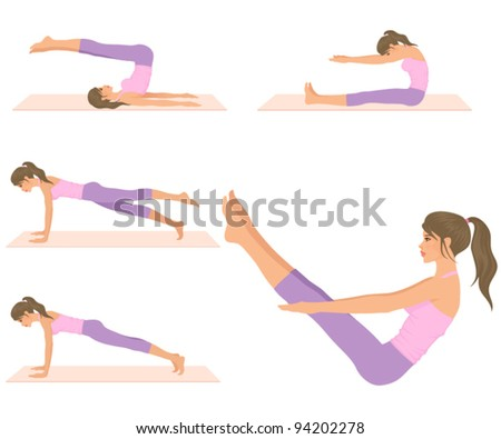 set of illustrations - a beautiful fit woman doing pilates exercises - stock vector