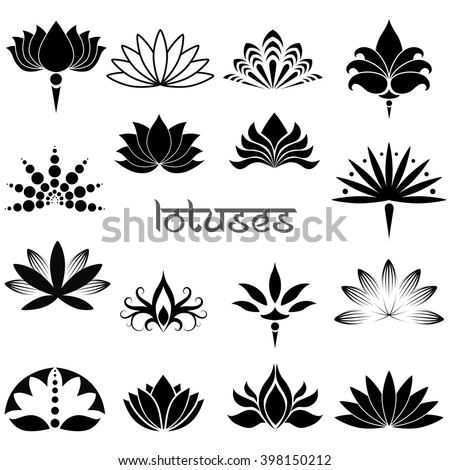 Set of illustrations and icons decorative lotuses - stock vector