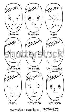 Set of illustrations expressing various feelings: Pleasure, boredom, anger, confidence, constraint, complacency, shame, confusion, depression - stock vector